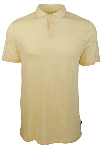 Michael Kors Mens Linen Blend Heathered Polo Shirt Yellow L (Heathered Linen)