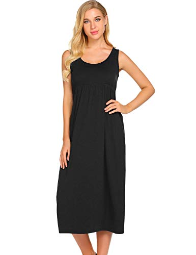 Cotton Empire Waist Chemise - Ekouaer Women's Sleepwear Sleeveless Nightgown Maxi Empire Waist Layered Tank Slip Dress S-XXL Black