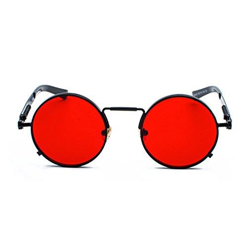 Rojo Huicai redondas Gafas gafas las Negro metal vintage primavera gafas de señoras ovales de de pAWqrwnxW