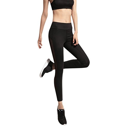 pantalons de yoga leggings, Baonoop Femmes Fitness Leggings taille haute Mesh Patchwork Skinny Push Up Pants Yoga