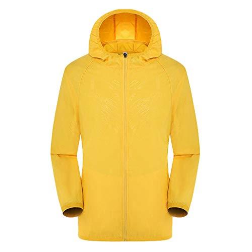 (Women Men's Unisex UPF 50+ UV Protection Hooded Rain Jacket Windbreaker Raincoat Waterproof Ultra-Light Sport Shell Yellow)