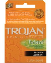 Trojan Stimulations Twisted Pleasure Lubricated Latex Condoms-3 ct (Trojan Twisted Pleasure Condoms)