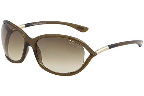 Tom Ford Women's FT0008 614 Jennifer Sunglasses, Champagne, - Ford Tom Store