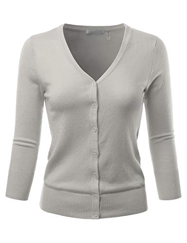 EIMIN Women's 3/4 Sleeve V-Neck Button Down Stretch Knit Cardigan Sweater LIGHTGREY 1XL ()