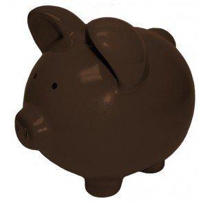 Wall Street Gifts Brown Dark Chocolate Ceramic Piggy Banks - Custom (10 inch Custom) -
