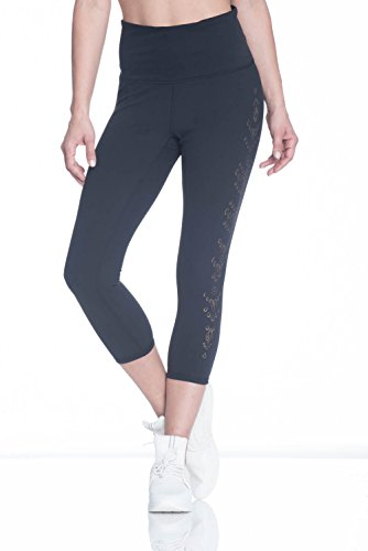 Gaiam Women's Om High Rise Yoga Capri Performance Spandex Compression Legging - Black Tap Shoe, X-Small