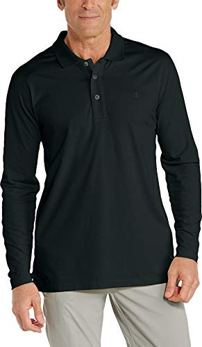 Coolibar UPF 50+ Men's Long Sleeve Weekend Polo Shirt - Sun Protective (X-Large- Black)