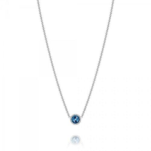 Tacori SN15433 Island Rains Sterling Silver Petite Floating London Blue Topaz Necklace, 16