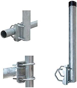 Balcón Soporte/mástil para barandilla (Acero galvanizado, 40 cm, con 2 abrazaderas Balcón Soporte 48 mm Mástil garantía barandilla Soporte para Sat ...