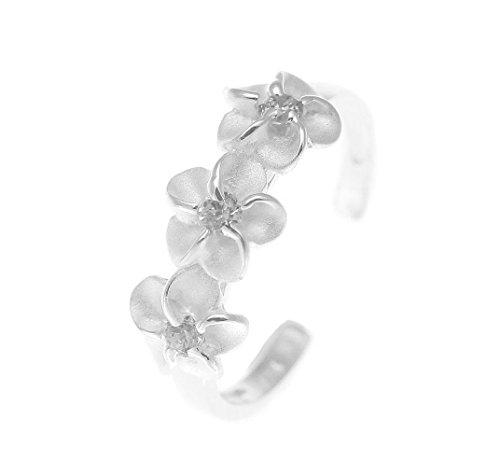 925 sterling silver Hawaiian 3 triple plumeria flower white cz open toe ring by Arthur's Jewelry