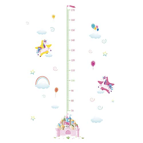 EWQHD Cartoon Castle Unicorn Rainbow Moon Star Cloud Height Measure Wall Stickers for Kids Room Children Growth Chart Poster Mural,D