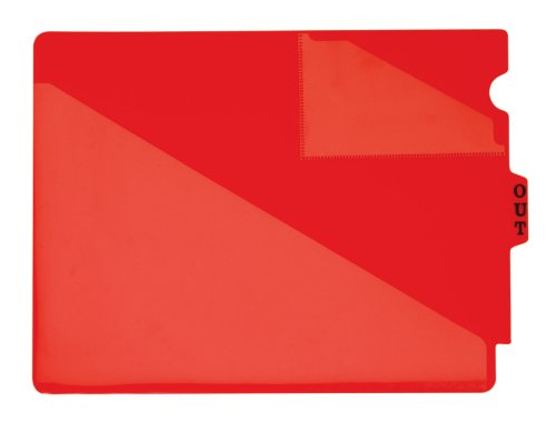 Globe-Weis End Tab Vinyl Out Guides, 1/5 Cut Center Tab, Letter Size, Red, 50 Guides per Box ()