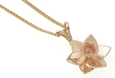 83652ea4e Daffodil Pendant Necklace, 9ct Yellow Gold and 9ct Rose Gold Curb Chain,  46cm Length, Model DP2, by Clogau Gold: Amazon.co.uk: Jewellery