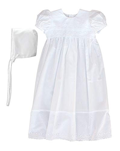 100% Cotton Dress Christening Gown Baptism Gown with Lace Border 3M White (White Cotton Christening Gown)
