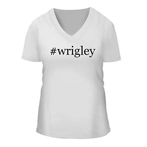 #Wrigley - A Nice Hashtag Women's Short Sleeve V-Neck T-Shirt Shirt, White, Large ()