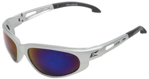 Edge Eyewear SW128 Dakura Safety Glasses, Silver with Blue Mirror Lens