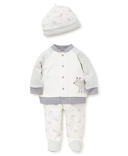 Little Me Baby Boys Cardigan Set, Cute Bear Marshmallow/Monument, 3 Months - Sweater Set Baby