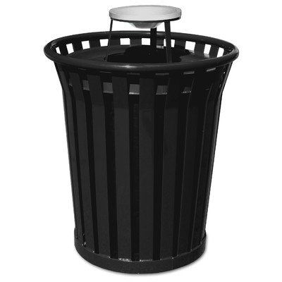 Steel Trash Receptacle with Decorative Rim and Flat Top Lid (Ash Urn Lid/Black) Flat Ash Top Receptacle