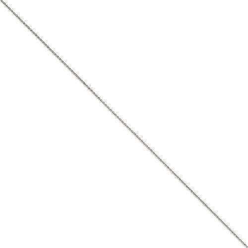 Or blanc 14 carats 1,2 mm Taille diamant rond Bracelet chaine de blé 9 cm-JewelryWeb