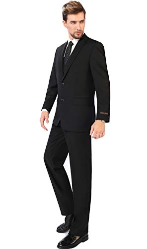(P&L Men's 3-Piece Classic Fit Vest Suit Jacket & Expandable Waist Dress Pants Black)