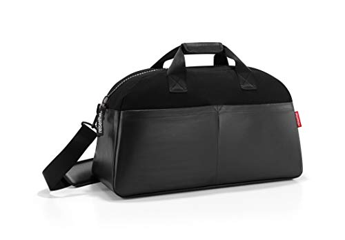 (reisenthel Overnighter Canvas Duffel Bag, Large Multi-pocket Weekender with Padded Adjustable Strap, Water-repellent, Canvas Black)