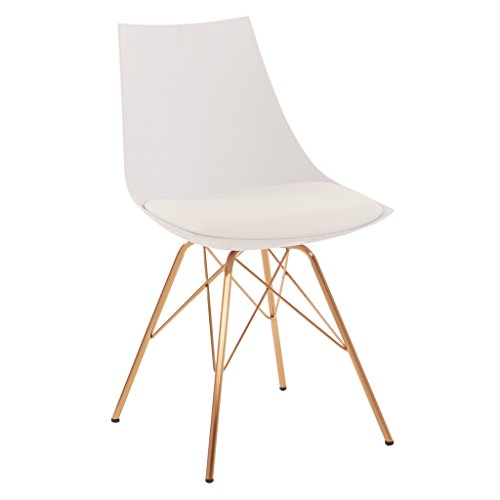 - AVE SIX Oakley Faux Leather Task Chair with Gold Chrome Base, White