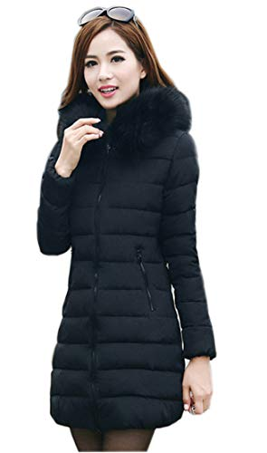 Elegant Hoodie Chaud Long Veste Blouson Ghope Femme À Hiver Zip Manteau Fausse Coat Fourrure Uni Jacket Capuche Noir Veston Parka OnUxpF