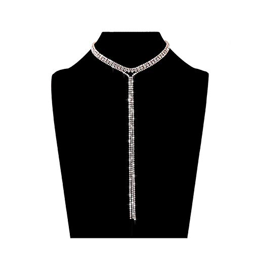 LIAO Jewelry 3 Row Rhinestone Tassel Choker Necklace Crystal Collar Necklace Gothic Wide Diamond Charms for Girls (Rose Gold)