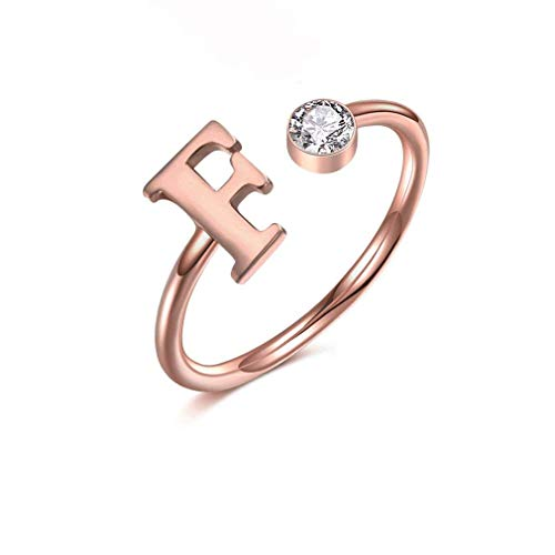MANZHEN Personalized Rose Gold Initial Letter Ring A-Z Stackable Ring (N)