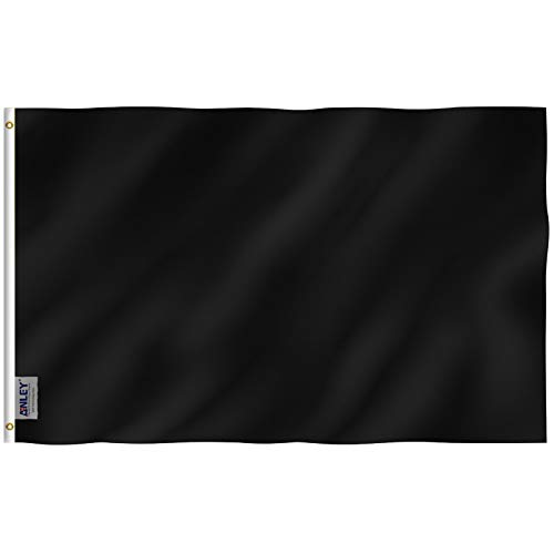 Anley Fly Breeze 3x5 Foot Solid Black Flag - Vivid Color and UV Fade Resistant - Canvas Header and Double Stitched - Plain Black Flags Polyester with Brass Grommets 3 X 5 Ft]()