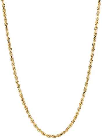 18Kt Solid Gold Diamond Cut Rope Chain Necklace 18