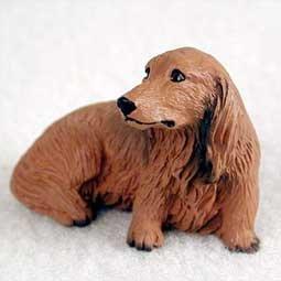 Dachshund Miniature Dog Figurine - Longhair - Red
