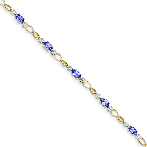 14k Completed Open-Link Diamond/Tanzanite Bracelet in 14k Yellow Gold 14k Yellow Gold Tanzanite Bracelet
