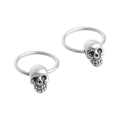 - JAGENIE 1 Pair Stainless Steel Skull Round Hoop Loop Earrings 0.39x0.28