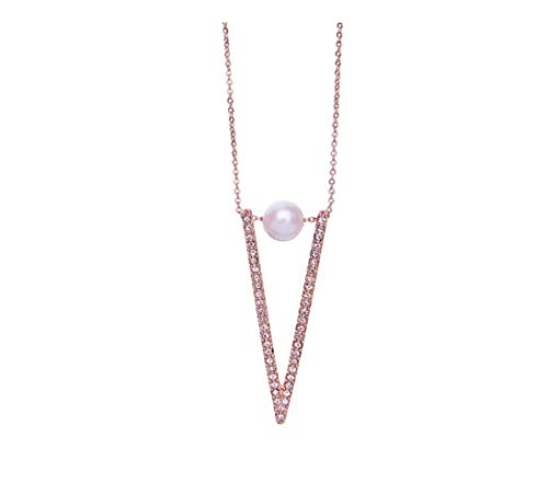NORTHSTAR PEARLS AND JEWELRY: Adjustable Dainty Geometric Necklace with Simulated Pearl. Available in Gold-Tone and Silver-Tone. Safe Jewelry See Product Description. (Rose Gold-Tone)