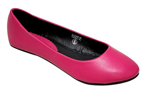 slip on rounded leather Sonia Fuchsia toe shoes Anna ballerina 4 flat Womens faux boat YZqwTS
