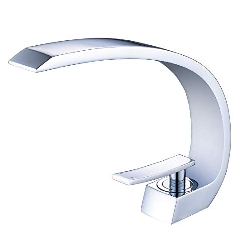Wovier Chrome Waterfall Bathroom Sink Faucet,Single Handle Single Hole Vessel Lavatory Faucet,Basin Mixer ()