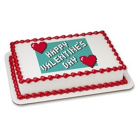 Amazon Com Happy Valentine S Day Pixel S Gamer Edible Cake Topper