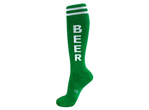 Gumball Poodle Unisex Cotton Beer Retro Knee High Tube Socks (Green & White)