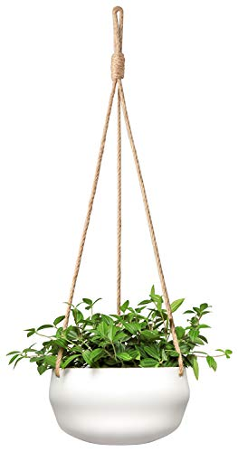 Mkono Modern Ceramic Hanging Planter for Indoor Plants Porcelain Hanging Plant Holder 8 Inch Geometric Flower Pot with Jute Rope, -