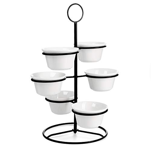Sweese 739.101 Tiered Serving Stand With Bowls - Chip and Dip Serving Set with Metal Stand, Porcelain Serving Set for Snacks, Nuts, Condiments, Candy, White