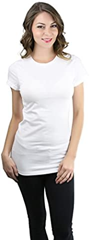 ToBeInStyle Women's Slim Fit Short Sleeve Crew Neck Tee - White - Small