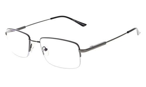 Eyekepper Half-Rim Progressive Readers 3 Levels Vision Multifocus Glasses Anti UV Reading Glasses Men Bendable Memory Frame (Gunmetal, 2.00)