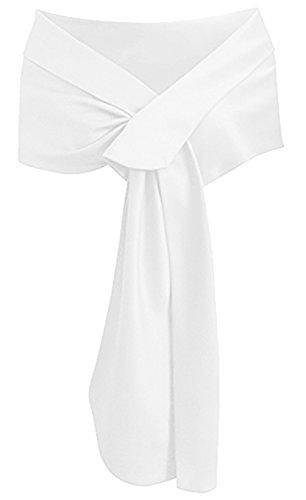 Formal Dress Shawls - Meet Edge Women's Satin Shawl Wrap for Evening/Wedding Party White