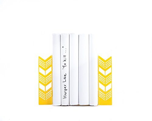 Artistic Bookends – Ear of Wheat. Metal holders. Yellow. Boho style. Birthday gift for reader. Bright bookshelf decor.