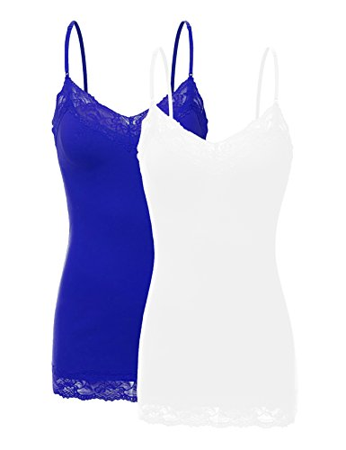 Bozzolo RT1004 Pack Ladies Adjustable Spaghetti Strap Lace Tunic Camisole 2Pack-Wht/Royal L