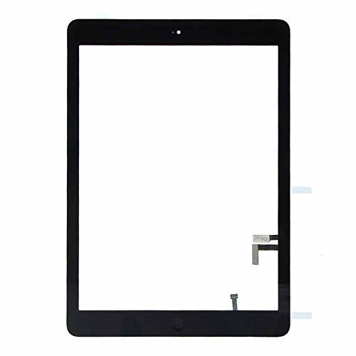 iPad 5 iPad air 1st Black Screen Replacement Touch Screen Digitizer Glass Assembly - Includes Home Button Camera Holder Pre Installed Adhesive Stickers and Professional Tool Kit (Open Frame Lcd Display Panel)