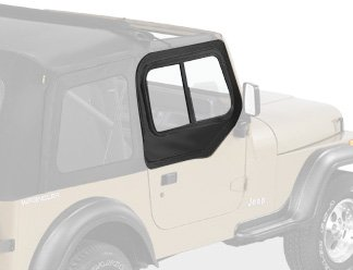 Bestop 51786-15 Black Denim Upper Door Slider Set (Rounded Door) for 1988-1995 Wrangler YJ - -