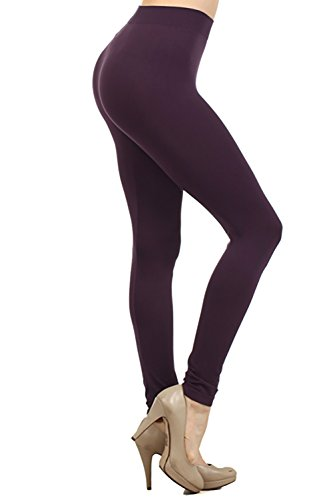 NeonNation Colored Seamless Leggings Athletic Pants Costume Party Tights Quality (Dark Purple) ()