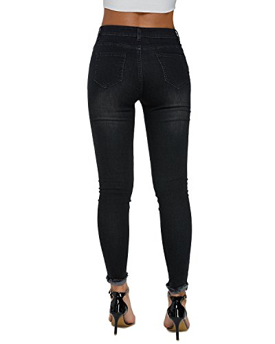 Donna Nero Jeans Alta Strappato Cropped Pants Dorimis Skinny 05 Denim Sexy Stretch A Vita Pantaloni dxTqBn